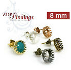 6pcs x 8mm Bezel Post Earrings For Setting - Choose Your Color