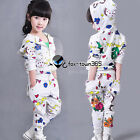 Spring Baby Girl Child Kids Flower Chicken Hooded Coat+Trousers Sets 2-7Y