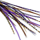 Real Feather Hair Extensions  - DIY kit with rings - Purple Auburn