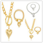 New Womens Jewelry Stainless Steel Gold Silver Heart Chain Necklace Bracelet Set