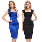 Black Blue VINTAGE 1940's 50's Pencil Wiggle Dress UK 8 10 12 14 16++
