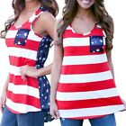 2016 Fashion Women Summer Sexy Sleeveless Tops US Flag Print Stripes Tank Top XW