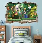Super Mario Bros Scene Smashed Wall Decal Removable Wall Sticker Luigi H195