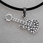 RETRO 60's 70's CLASSIC ELECTRIC GUITAR Rock 'n' Roll Pewter Pendant Charm