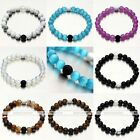 8mm Natural Lava Rock Stone Agate Turquoise Bead Mala Bangle Bracelet Men Women