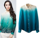 2016 Women'S Fashion Gradient Color Long-Sleeved Shirt Collar Blouses