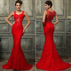 SEXY Red MERMAID Lace Bridesmaid Wedding Formal Evening Party Gown Prom Dress