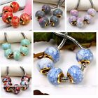 5pcs European Howlite Turquoise Gemstone Gold Plated 5mm Big Hole Bead For Diy