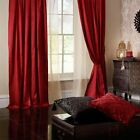 Catherine Lansfield Ruby/Red Faux Silk Lined Pencil Pleat Curtains SUPER SALE!