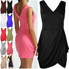 Womens Ladies Deep V Neck Back Wrap Cross Tunic Tulip Shape Mini Dress Plus Size