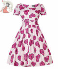 LADY VINTAGE 50's ROMANCE BLOSSOMS ROSALYN heart DRESS PINK