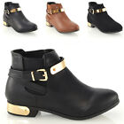 Ladies Chelsea Pull On Flat Gold Buckle Trim Pixie Womens Ankle Boots Shoes Size