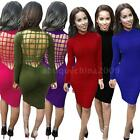 2016 Women Bandage Backless Long Sleeve Cotton Club Bodycon Party Dress G6M2