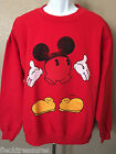 New Mens Junk Food Mickey Mouse Crew Neck Pullover Sweatshirt Red Choose Size