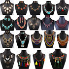 Vintage Women's Crystal Statement Bib Pendant Gold Chain Chunky Choker Necklace