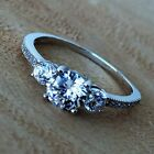 Three Round Stone Jewelry Wedding Engagement 925 Sterling Silver Cubic Zirconia