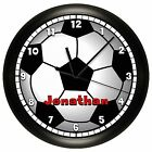 SOCCER BALL WALL CLOCK PERSONALIZED RED 10 INCH ADD NAME BLACK WHITE SPORT
