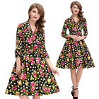 Rock and Roll Floral Womens 50s 60s Fancy Party Dress Housewife Plus Size Dress