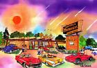 RATTEYS DRIVE-IN ART PRINT Car Hop Roadside Diner Hot Street Rod Cars 58 Chevy
