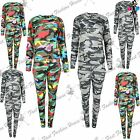 Ladies Womens Multi Colour Army Turtle Neck Top Loungewear Set Tracksuit Uk 8-14