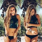 Sexy Women High Neck Bikini Set Push up Padded Swimsuit Swimwear Bathing Suit
