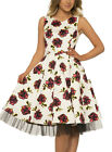 H & R London Ivory FLORAL Roses Hepburn Dress Swing Retro Pin Up Rockabilly