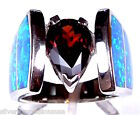 3 Carat Garnet & Blue Fire Opal Inlay 925 Sterling Silver Ring Sz 6,7,8,9