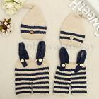 Newborn Baby Crochet Knit Costume Photo Photography Prop Outfits Braces Hat HOT1