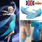 Blue Frozen Elsa Princess Girl Child Shoes For Cosplay Dress UP Party Size UK