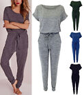 New Womens Ladies Melange Marl Loungewear Jumpsuit All In One Tops Trousers 8-14
