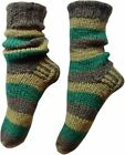 FAIR TRADE NEPALESE WINTER WOOL SLIPPER COLOURFUL STRIPED SOCKS SIZES -  9""