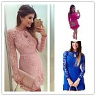 Women's Sexy Lace Embroidery Polyester Shirt Long Sleeve Dress Party Clothing