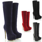 LADIES HIGH HEEL WOMENS KNEE HIGH  PLATFORM BOOTS ZIP STILETTO HEEL SIZE 3-8