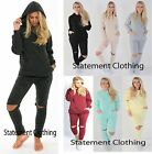WOMENS LADIES CUT OUT FLEECE JUMPER SWEATSHIRT JOGGER LOUNGEWEAR TRACKSUIT SET