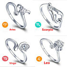 1Chic 925 Sterling Silver 12 Constellations Zodiac Sign Opening Adjustable Rings