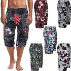 Mens 2 In 1 Elasticated Waist Swim Shorts 3/4 Zip Off Floral Print Beach Pants