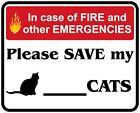 In Case of Fire Save My Cats Decals / Stickers