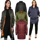 WOMENS MA1 SERGEANT LONG LINE CLASSIC VINTAGE PADDED AVIATOR BOMBER JACKET COAT