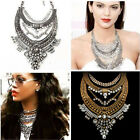 Women's Gold Silver Crystal Rhinestone Choker Chunky Statement Pendant Necklace