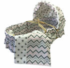 Wendy Anne Chevron Moses Basket Bedding Set With Canopy