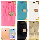 For Samsung Galaxy S7 EDGE Premium Leather Wallet Case Flip Pouch Crocodile