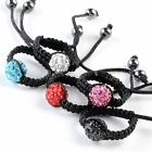 Crystal Bead Black Woven Knitted Macrame Rope String Finger Ring Women Jewelry