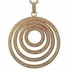 Luxiro Sterling Silver Cubic Zirconia Concentric Circle Pendant Necklace