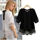 Fashion Women Short Sleeve Shirt Casual Lace Blouse Loose Tops T-Shirt Chiffon