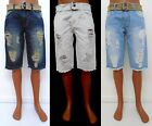 Men's ESMX White Ice Dark Blue Distressed jeans shorts with belt style 2601