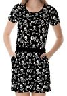 Black Skulls And Bones Pattern Women's Clothing Top Dress With Pockets