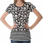 Black White Skull Pattern Womens Ladies Short Sleeve Top Shirt Blouse