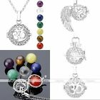Hollow Locket Pendant With Natural 7 Chakra Stones Beads Chain Necklace Set