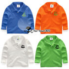 Summer Spring Boy Baby Child Kids Chest Boat Polo Long Sleeve T-shirt Top 2-8Y