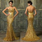 PLUS SIZE Golden Sequins Mermaid Prom Gown WEDDING Bridesmaid Long Evening Dress